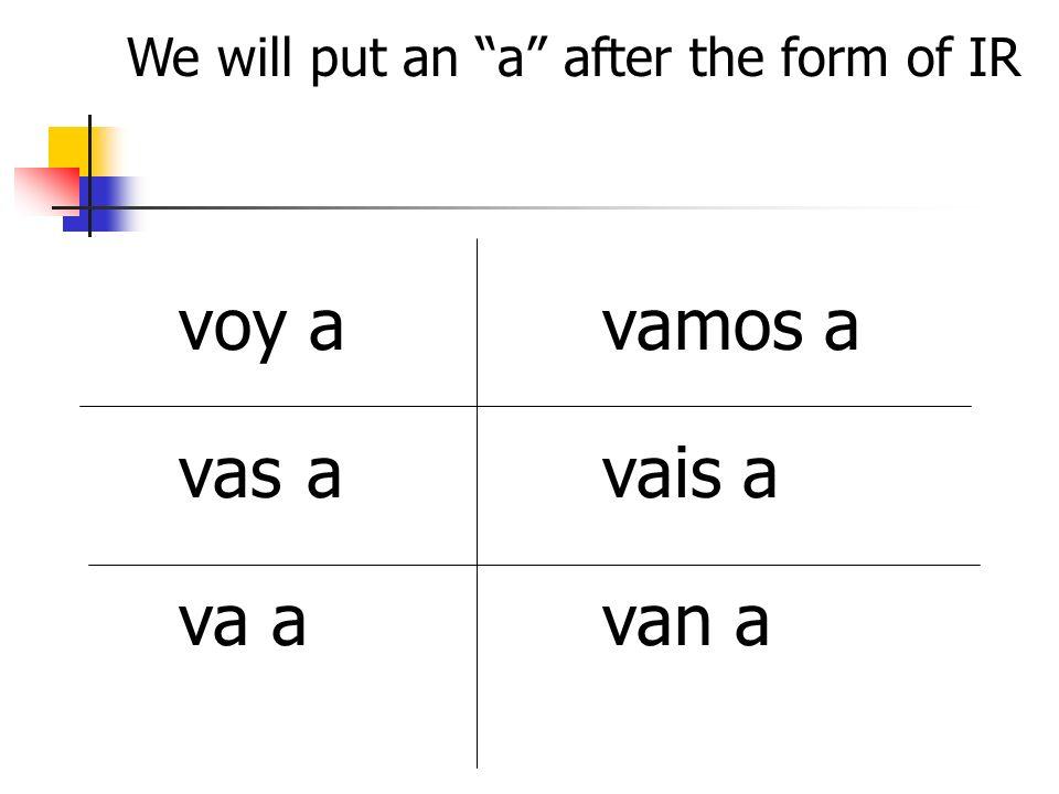 We will put an a after the form of IR voy avamos a vas avais a va avan a