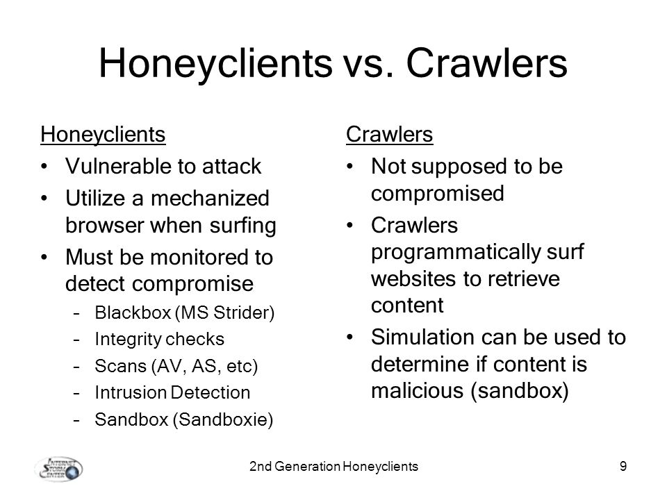 2nd Generation Honeyclients9 Honeyclients vs.