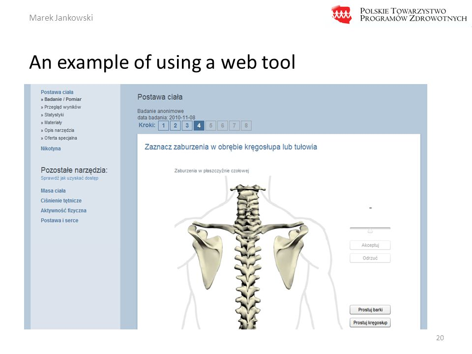 Marek Jankowski An example of using a web tool 20