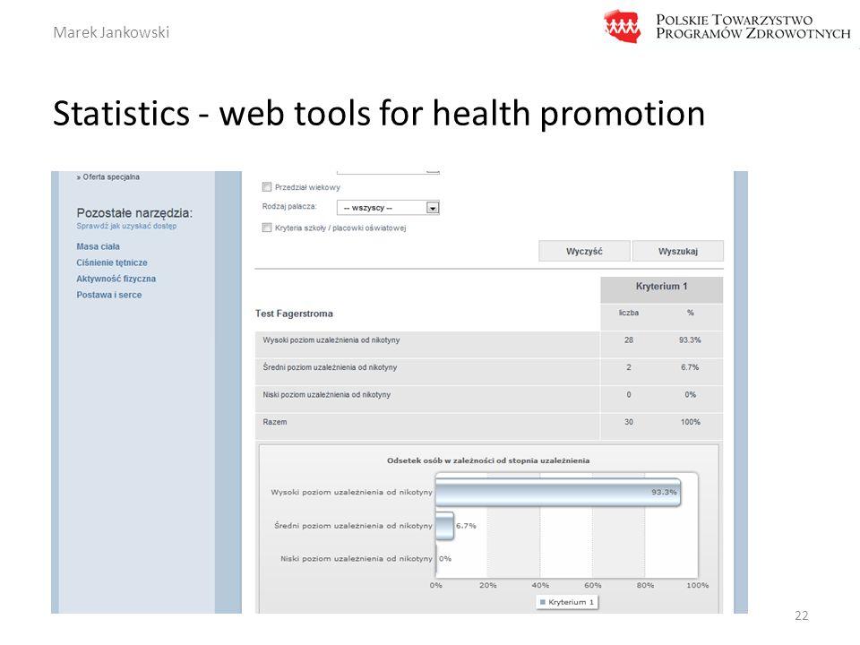 Marek Jankowski Statistics - web tools for health promotion 22