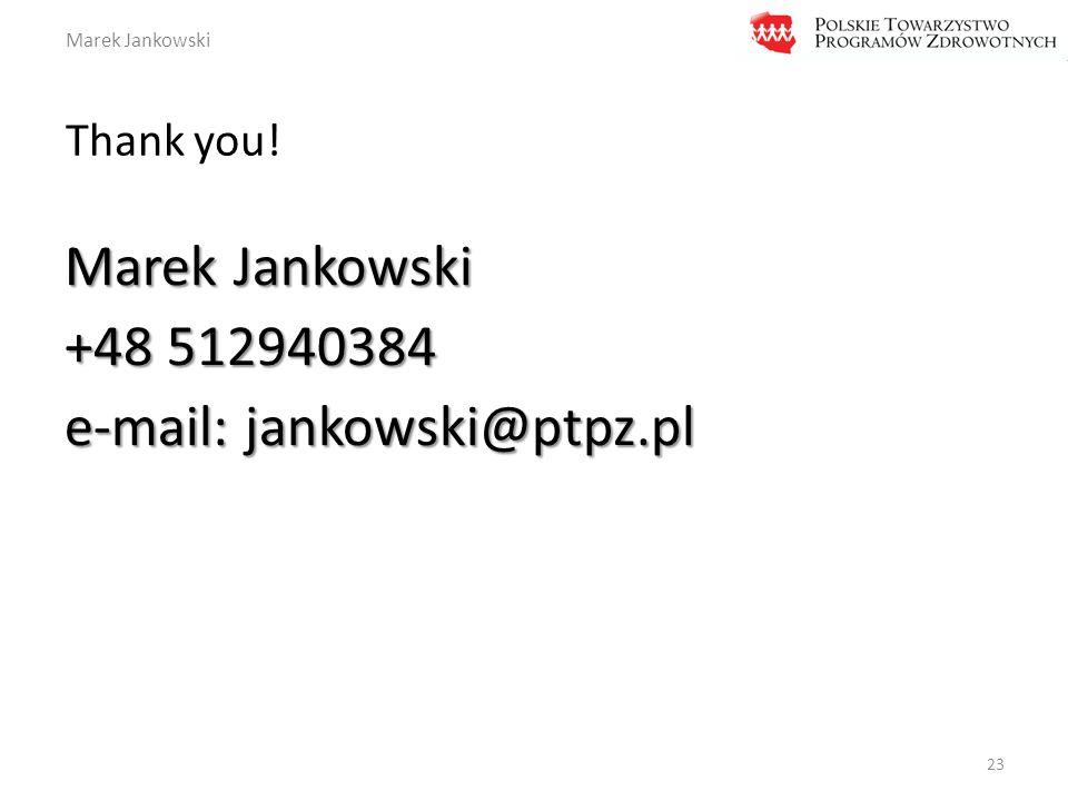 Marek Jankowski Thank you! 23 Marek Jankowski +48 512940384 e-mail: jankowski@ptpz.pl