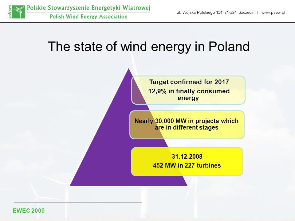 al. Wojska Polskiego 154, 71-324 Szczecin | www.psew.pl The state of wind energy in Poland Target confirmed for 2017 12,9% in finally consumed energy