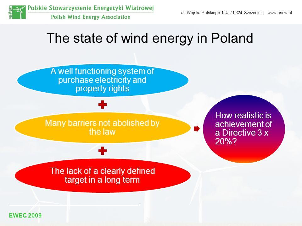 al. Wojska Polskiego 154, 71-324 Szczecin | www.psew.pl EWEC 2009 The state of wind energy in Poland A well functioning system of purchase electricity