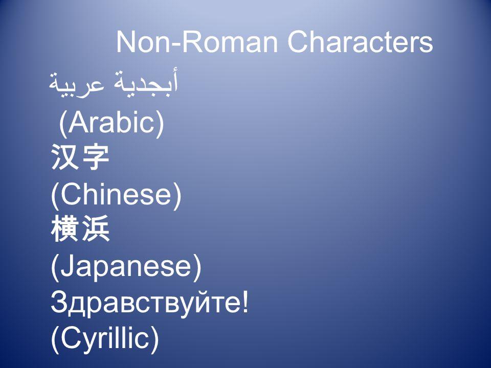 أبجدية عربية (Arabic) (Chinese) (Japanese) Здравствуйте! (Cyrillic) Non-Roman Characters
