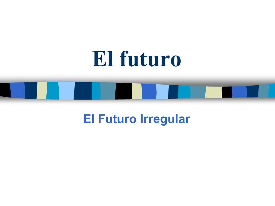 Las formas Las terminaciones para los irregulares del futuro son las mismas del futuro regular.
