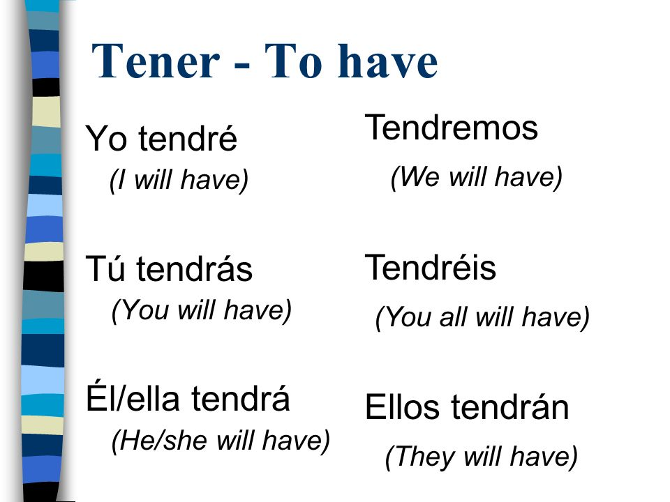 Los irregulares Tener Tendré (I will have) Salir Saldré (I will leave) Venir Vendré (I will come) Poner Pondré (I will put) Saber Sabré (I will know) Poder Podré (I will be able to)