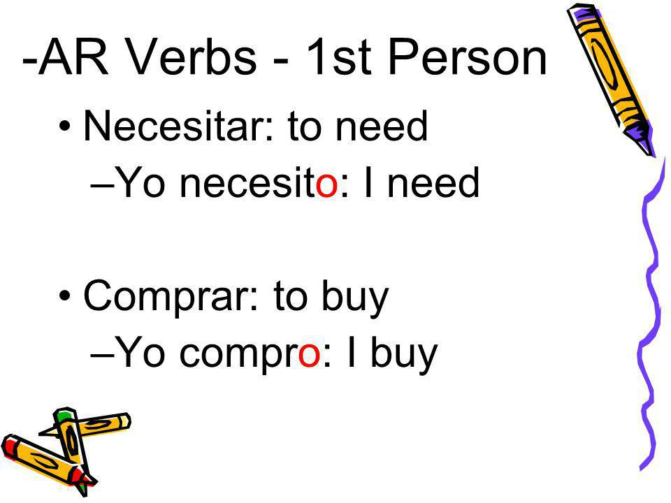 -AR Verbs - 1st Person Mirar: to look at/watch –Yo miro: I look at/watch Llevar: to carry/to wear –Yo llevo: I carry/I wear