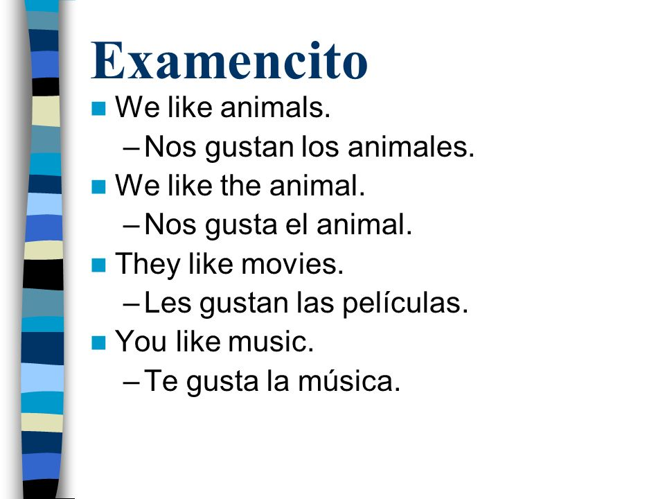 Examencito We like animals. –Nos gustan los animales.
