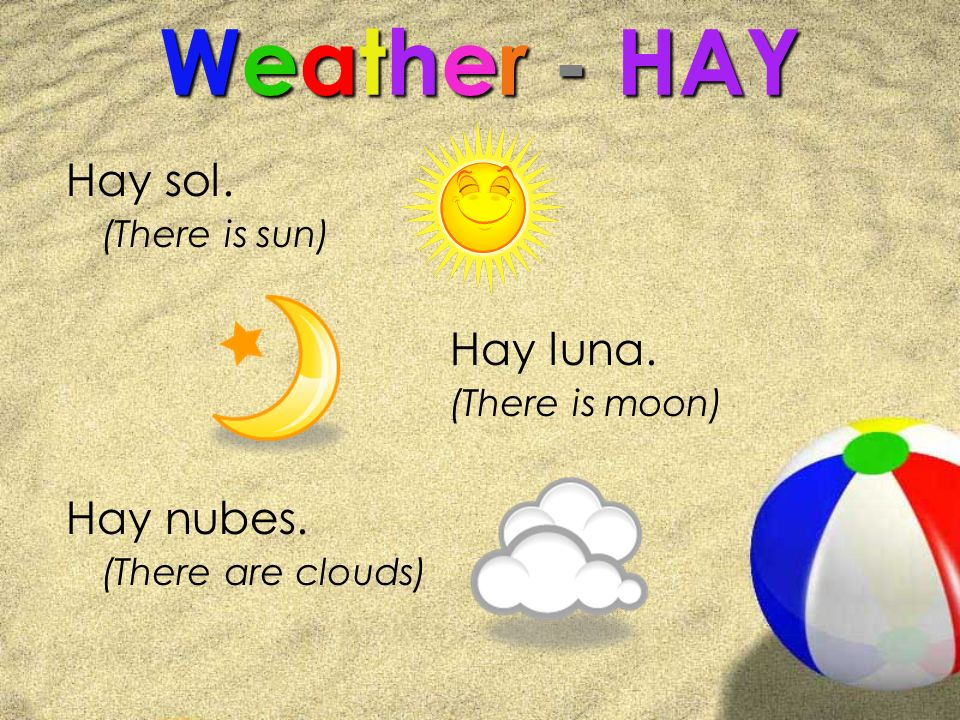 Weather - HAY Hay sol. (There is sun) Hay luna. (There is moon) Hay nubes. (There are clouds)