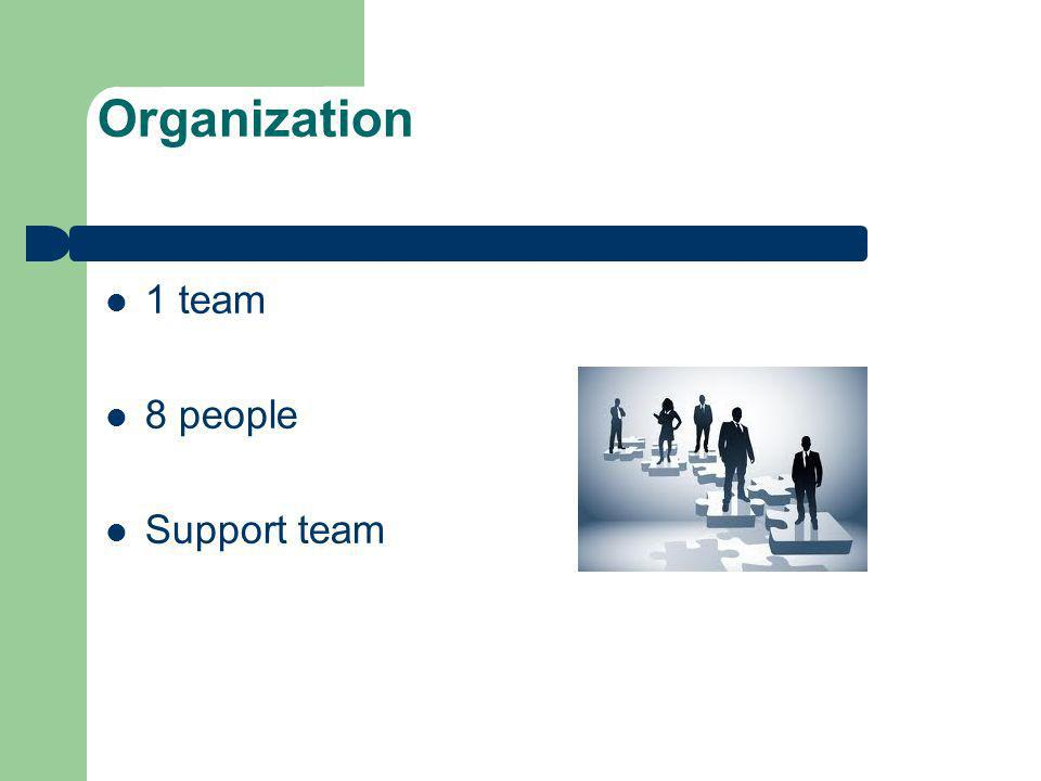 Organization 1 team 8 people Support team