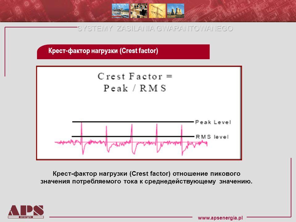 www.apsenergia.pl Крест-фактор нагрузки (Crest factor) отношение пикового значения потребляемого тока к среднедействующему значению. Крест-фактор нагр