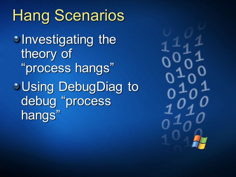 Hang Scenarios Investigating the theory of process hangs Using DebugDiag to debug process hangs