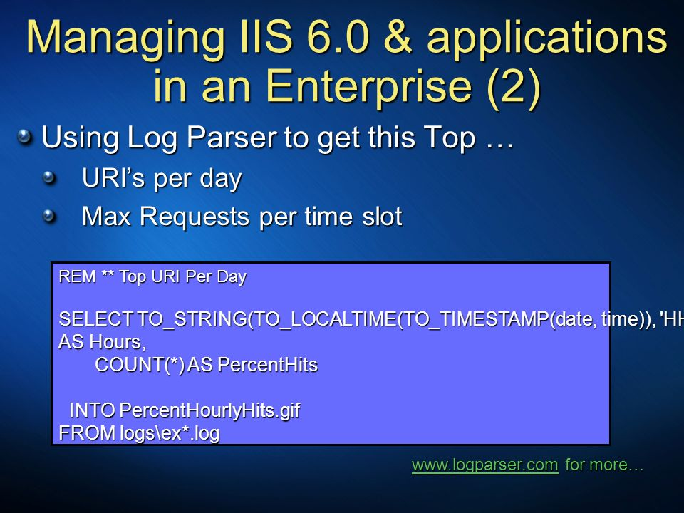 Managing IIS 6.0 & applications in an Enterprise (2) Using Log Parser to get this Top … URIs per day URIs per day Max Requests per time slot Max Reque