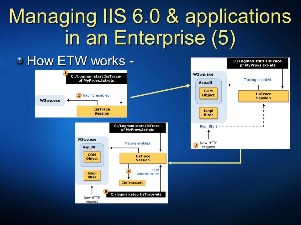 Managing IIS 6.0 & applications in an Enterprise (5) How ETW works -