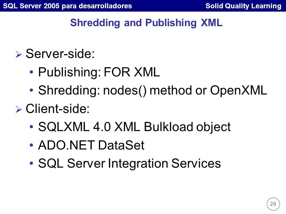 26 SQL Server 2005 para desarrolladores Solid Quality Learning Shredding and Publishing XML Server-side: Publishing: FOR XML Shredding: nodes() method or OpenXML Client-side: SQLXML 4.0 XML Bulkload object ADO.NET DataSet SQL Server Integration Services