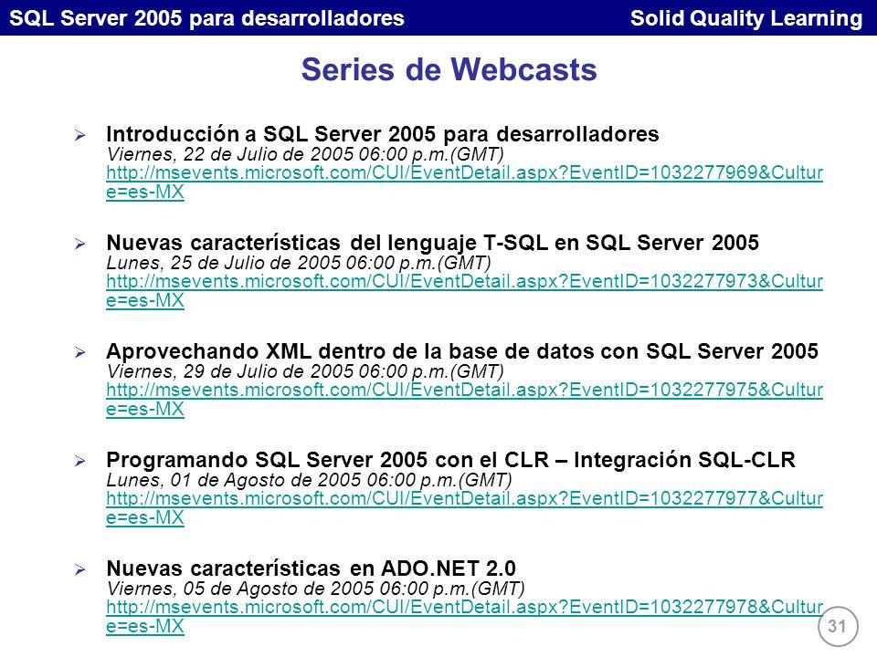 31 SQL Server 2005 para desarrolladores Solid Quality Learning Series de Webcasts Introducción a SQL Server 2005 para desarrolladores Viernes, 22 de Julio de 2005 06:00 p.m.(GMT) http://msevents.microsoft.com/CUI/EventDetail.aspx EventID=1032277969&Cultur e=es-MX http://msevents.microsoft.com/CUI/EventDetail.aspx EventID=1032277969&Cultur e=es-MX Nuevas características del lenguaje T-SQL en SQL Server 2005 Lunes, 25 de Julio de 2005 06:00 p.m.(GMT) http://msevents.microsoft.com/CUI/EventDetail.aspx EventID=1032277973&Cultur e=es-MX http://msevents.microsoft.com/CUI/EventDetail.aspx EventID=1032277973&Cultur e=es-MX Aprovechando XML dentro de la base de datos con SQL Server 2005 Viernes, 29 de Julio de 2005 06:00 p.m.(GMT) http://msevents.microsoft.com/CUI/EventDetail.aspx EventID=1032277975&Cultur e=es-MX http://msevents.microsoft.com/CUI/EventDetail.aspx EventID=1032277975&Cultur e=es-MX Programando SQL Server 2005 con el CLR – Integración SQL-CLR Lunes, 01 de Agosto de 2005 06:00 p.m.(GMT) http://msevents.microsoft.com/CUI/EventDetail.aspx EventID=1032277977&Cultur e=es-MX http://msevents.microsoft.com/CUI/EventDetail.aspx EventID=1032277977&Cultur e=es-MX Nuevas características en ADO.NET 2.0 Viernes, 05 de Agosto de 2005 06:00 p.m.(GMT) http://msevents.microsoft.com/CUI/EventDetail.aspx EventID=1032277978&Cultur e=es-MX http://msevents.microsoft.com/CUI/EventDetail.aspx EventID=1032277978&Cultur e=es-MX