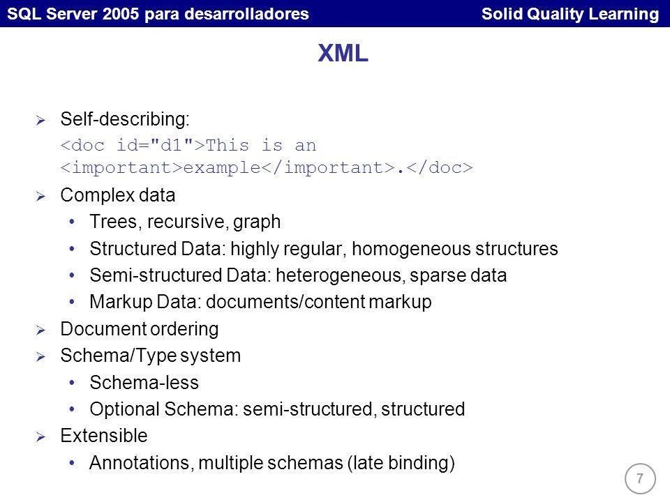 7 SQL Server 2005 para desarrolladores Solid Quality Learning XML Self-describing: This is an example.