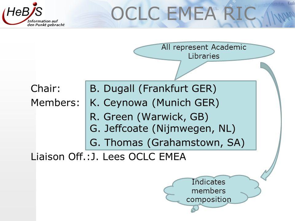 Information auf den Punkt gebracht OCLC EMEA RIC Chair: B.