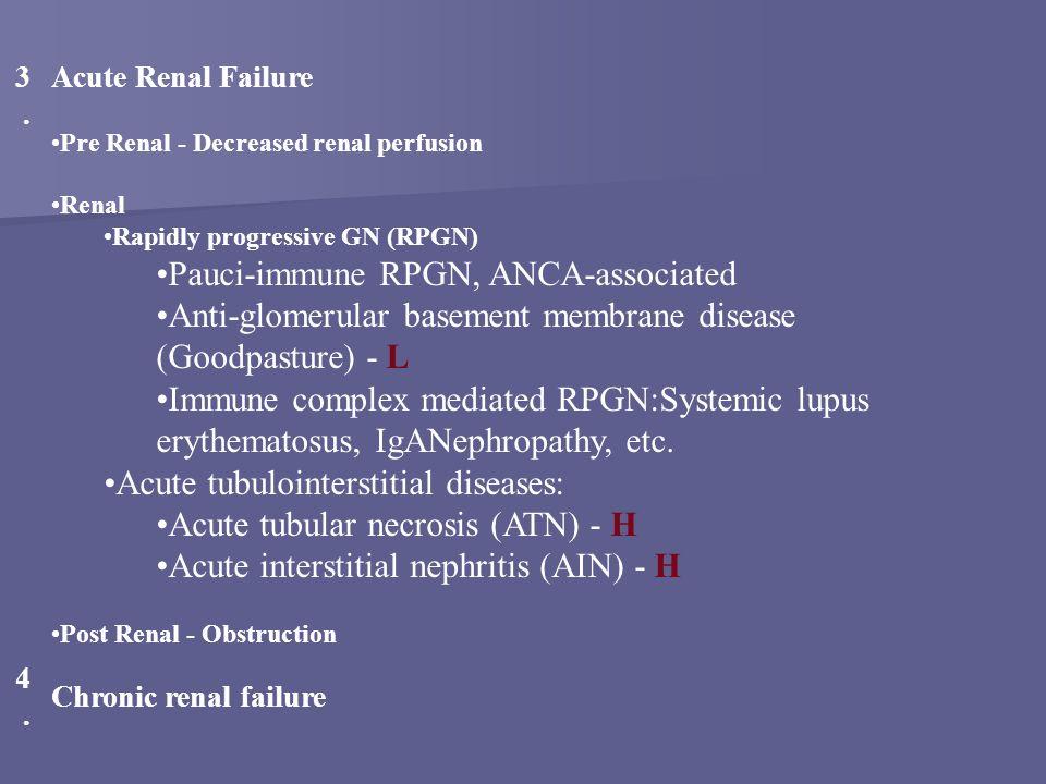 3.3. Acute Renal Failure Pre Renal - Decreased renal perfusion Renal Rapidly progressive GN (RPGN) Pauci-immune RPGN, ANCA-associated Anti-glomerular