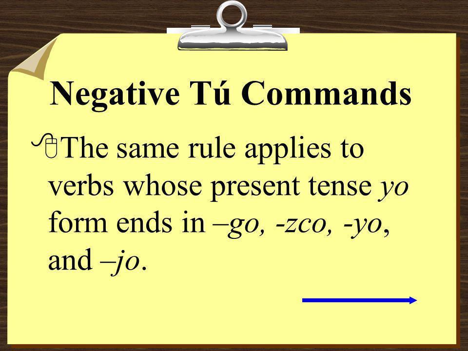 Negative Tú Commands ABRIR abro abr as No abras esa puerta.