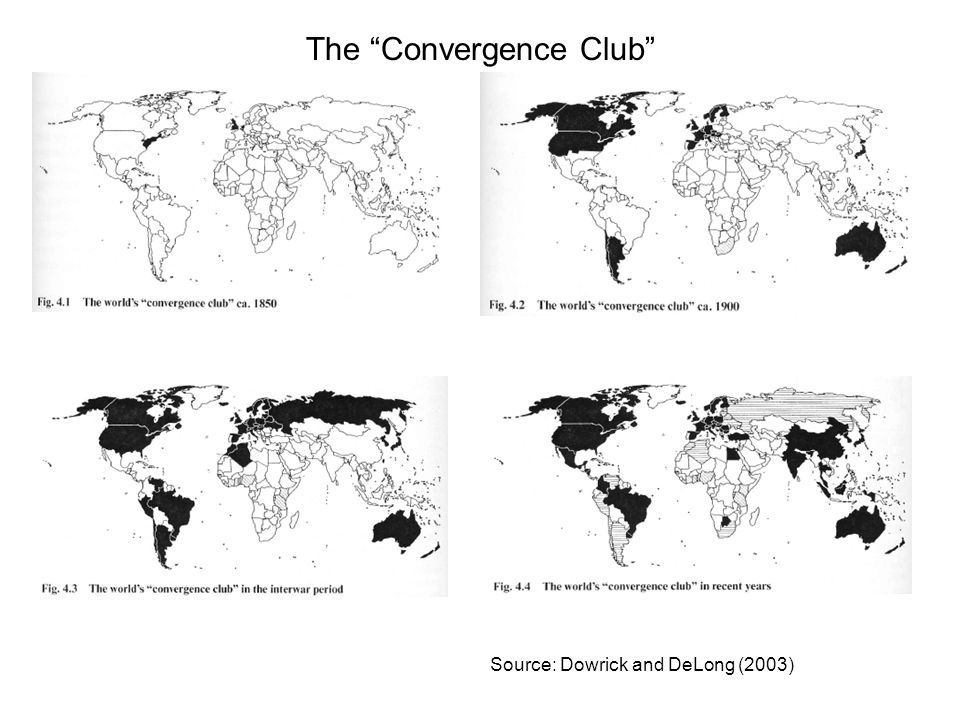 Source: Dowrick and DeLong (2003) The Convergence Club