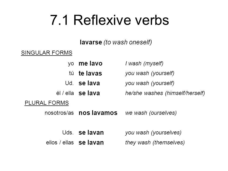 7.1 Reflexive verbs lavarse (to wash oneself) SINGULAR FORMS yo me lavo I wash (myself) tú te lavas you wash (yourself) Ud. se lava you wash (yourself