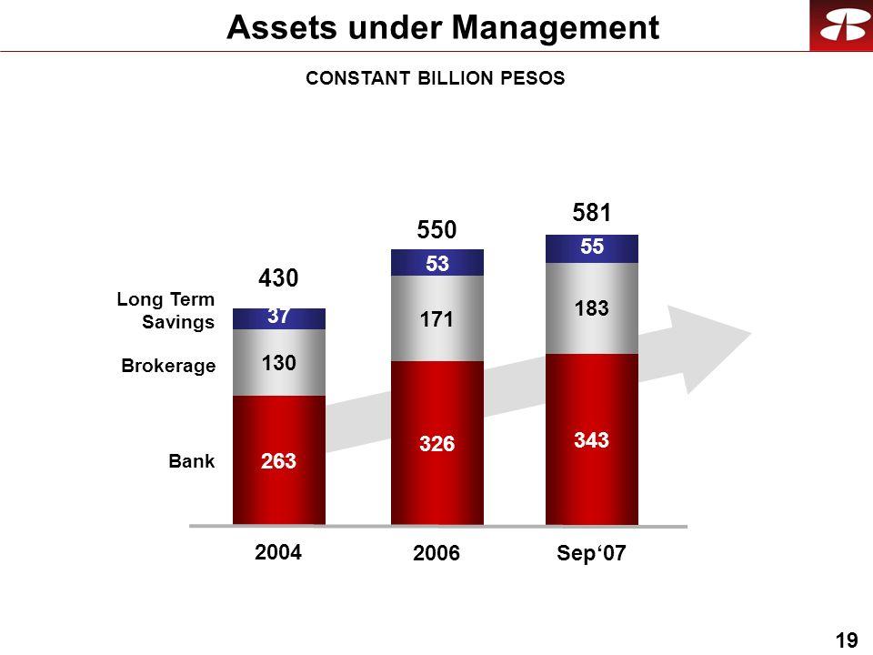 19 Assets under Management Bank Brokerage Long Term Savings 326 171 2006 550 53 263 130 2004 430 37 343 183 Sep07 581 55 CONSTANT BILLION PESOS