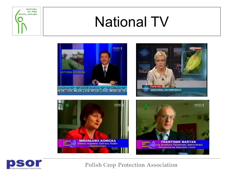 PESTICIDES BUY FROM TRUSTFUL SUPPLIERS Polish Crop Protection Association National TV