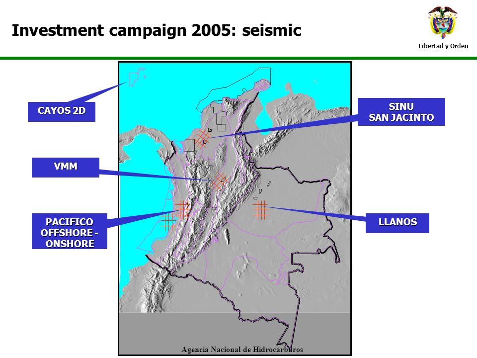 Libertad y Orden Investment campaign 2005: seismic CAYOS 2D PACIFICO OFFSHORE - ONSHORE VMM SINU SAN JACINTO LLANOS Agencia Nacional de Hidrocarburos