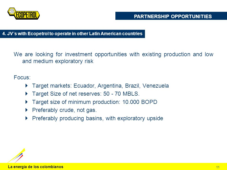 La energía de los colombianos 11 We are looking for investment opportunities with existing production and low and medium exploratory risk Focus: Targe