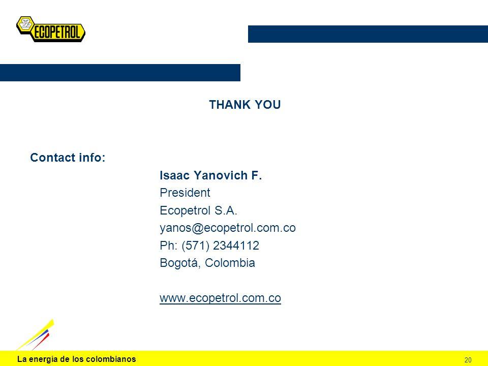 La energía de los colombianos 20 THANK YOU Contact info: Isaac Yanovich F.