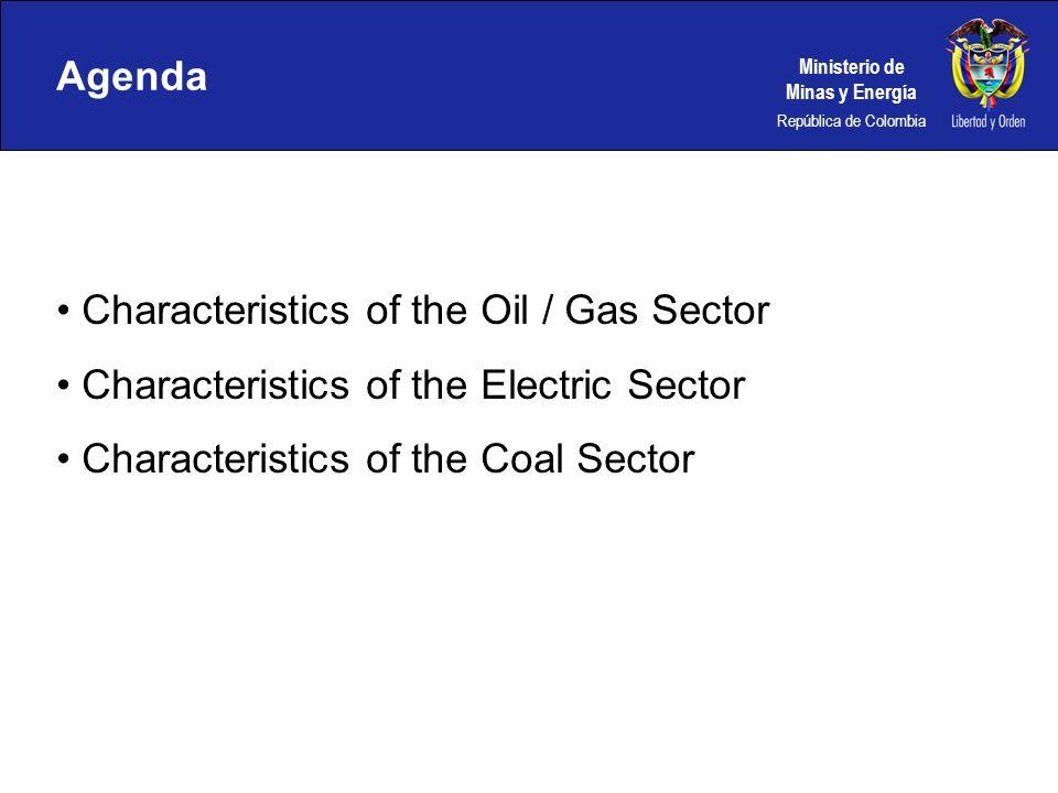 Ministerio de Minas y Energía República de Colombia Agenda Characteristics of the Oil / Gas Sector Characteristics of the Electric Sector Characterist