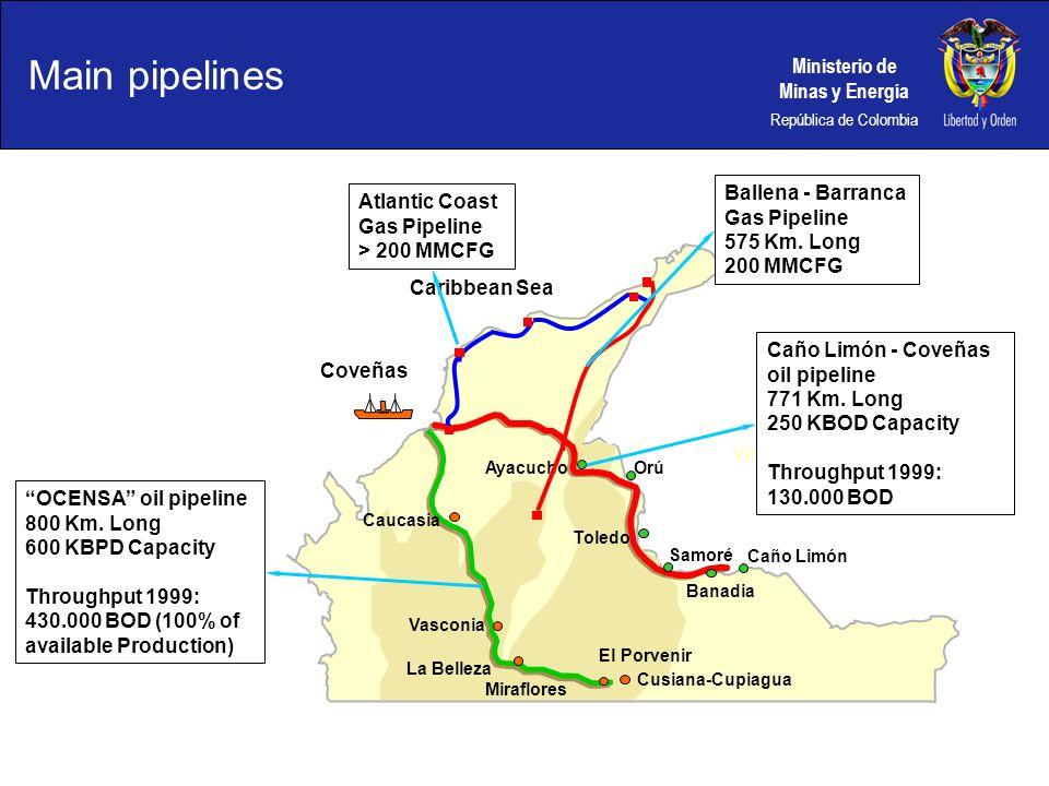 Ministerio de Minas y Energía República de Colombia Caribbean Sea Venezuela Caucasia Vasconia La Belleza Miraflores El Porvenir OCENSA oil pipeline 80