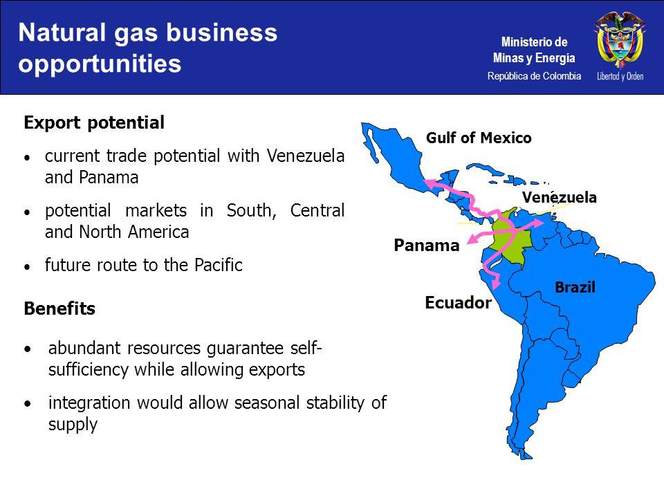 Ministerio de Minas y Energía República de Colombia Gulf of Mexico Venezuela Panama Brazil Export potential current trade potential with Venezuela and