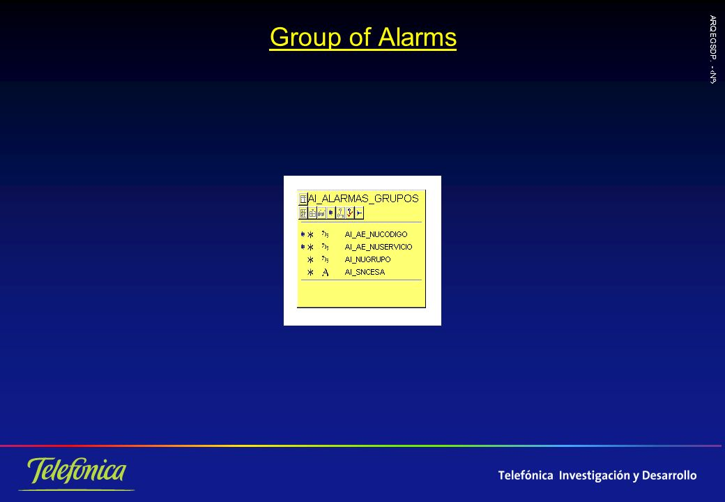 ARQ EGSDP. - Nº Group of Alarms