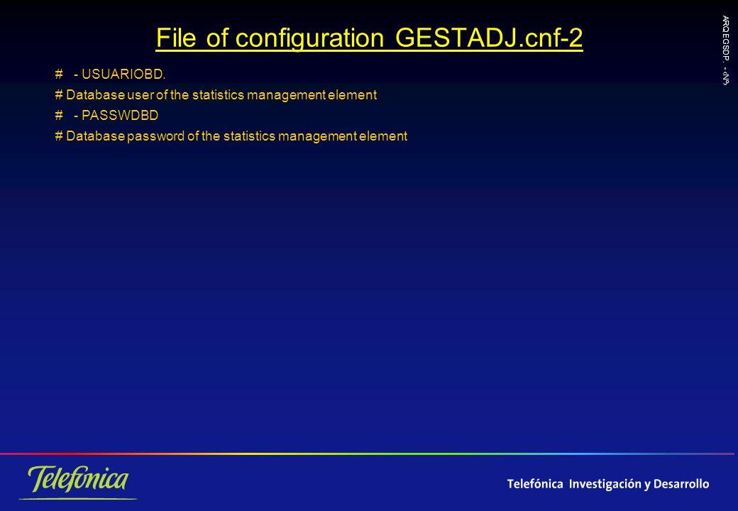 ARQ EGSDP. - Nº File of configuration GESTADJ.cnf-2 # - USUARIOBD.