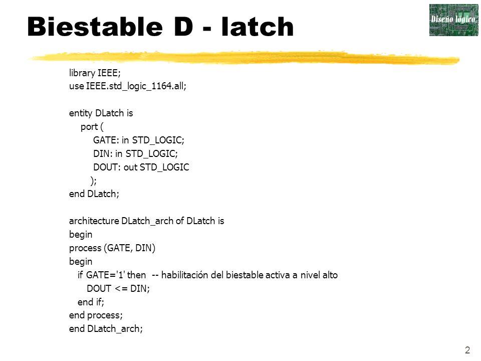 2 Biestable D - latch library IEEE; use IEEE.std_logic_1164.all; entity DLatch is port ( GATE: in STD_LOGIC; DIN: in STD_LOGIC; DOUT: out STD_LOGIC );