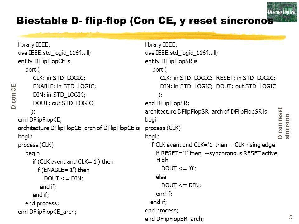 5 Biestable D- flip-flop (Con CE, y reset síncronos library IEEE; use IEEE.std_logic_1164.all; entity DFlipFlopCE is port ( CLK: in STD_LOGIC; ENABLE: