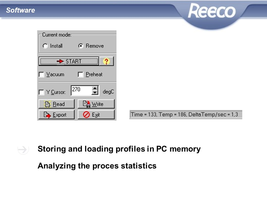 wysoka jakość atrakcyjna cena zgodność z CE i RoHS Storing and loading profiles in PC memory Analyzing the proces statistics Software
