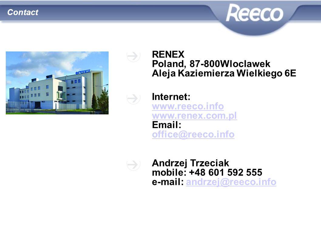 wysoka jakość atrakcyjna cena Contact RENEX Poland, 87-800Wloclawek Aleja Kaziemierza Wielkiego 6E Internet: www.reeco.info www.renex.com.pl Email: of