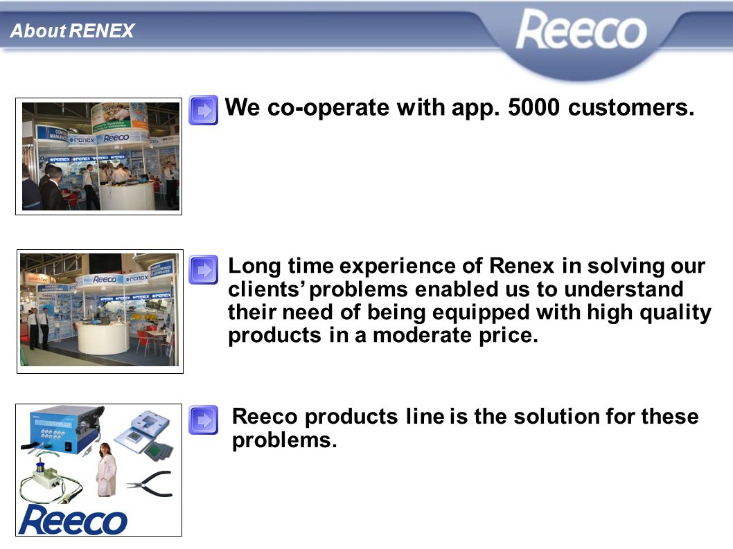 About RENEX Long time experience of Renex in solving our clients problems enabled us to understand their need of being equipped with high quality prod