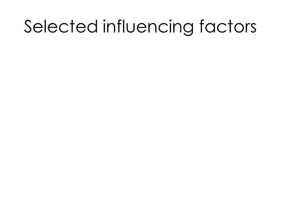 Selected influencing factors