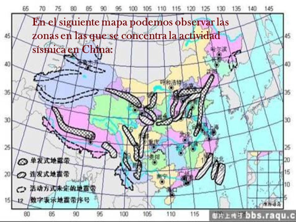 En el siguiente mapa podemos observar las zonas en las que se concentra la actividad sísmica en China: