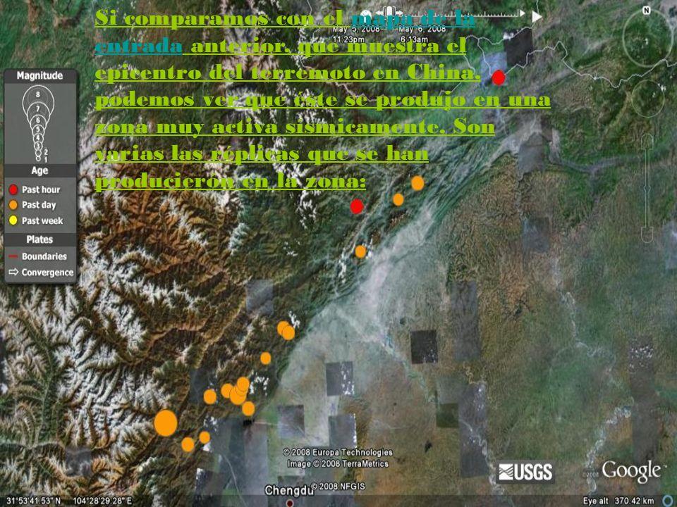 Si comparamos con el mapa de la entrada anterior, que muestra el epicentro del terremoto en China, podemos ver que éste se produjo en una zona muy act