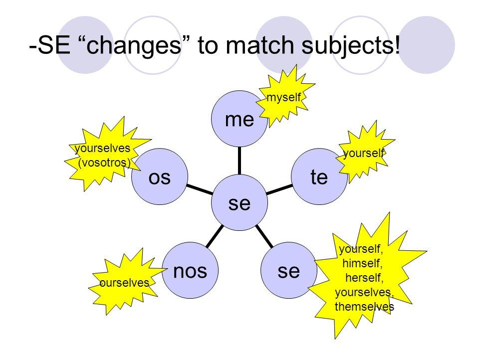 -SE changes to match subjects! se metesenosos myself yourself yourself, himself, herself, yourselves, themselves ourselves yourselves (vosotros)