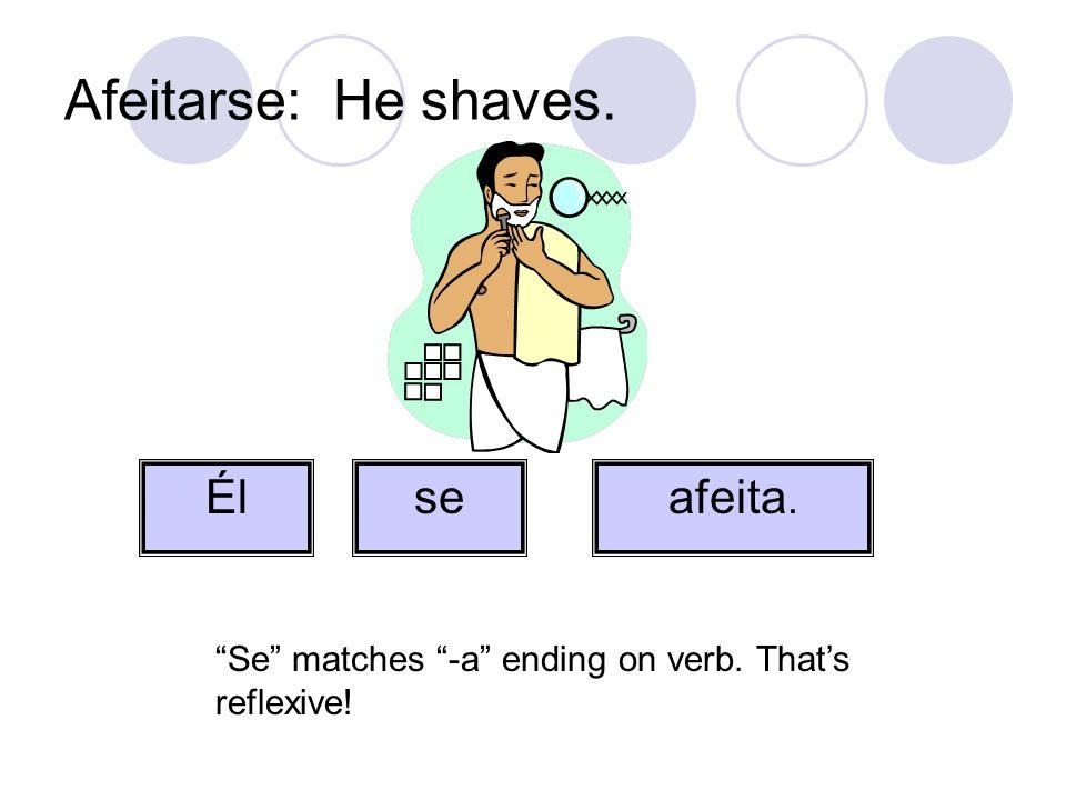 Afeitarse: He shaves. seafeita. Él Se matches -a ending on verb. Thats reflexive!