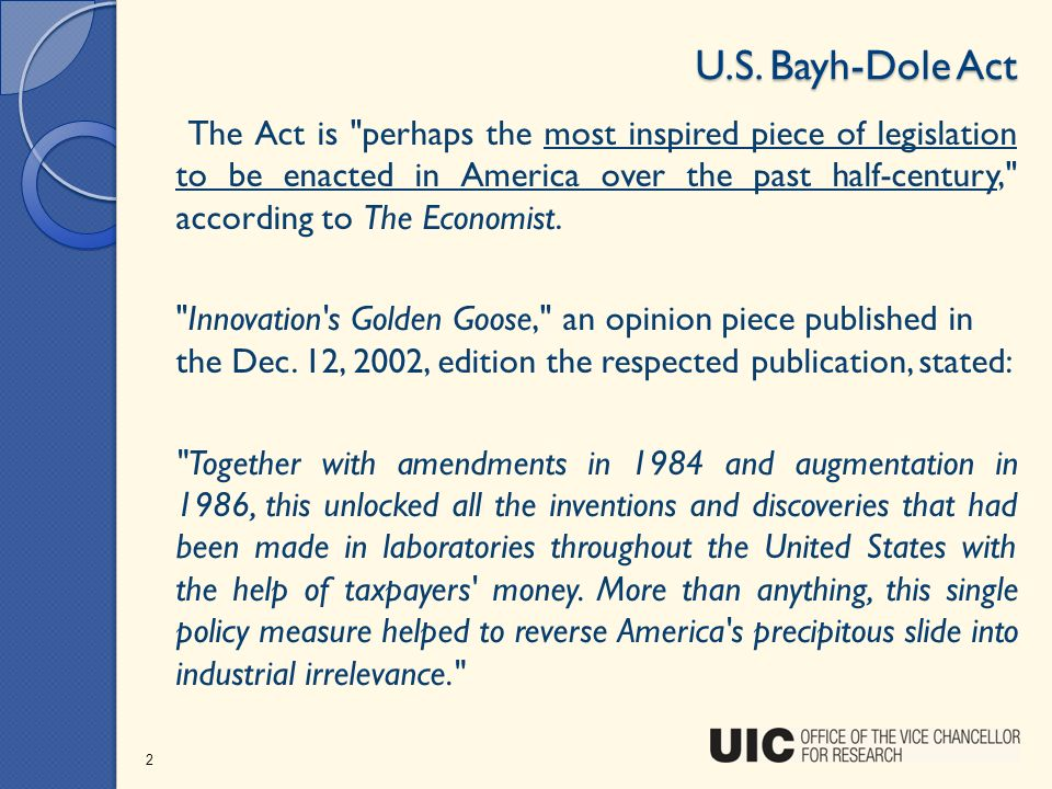 U.S. Bayh-Dole Act The Act is