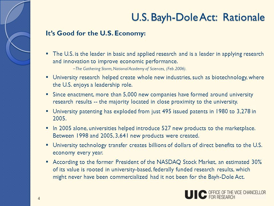 U.S. Bayh-Dole Act: Rationale Its Good for the U.S. Economy: The U.S. is the leader in basic and applied research and is a leader in applying research