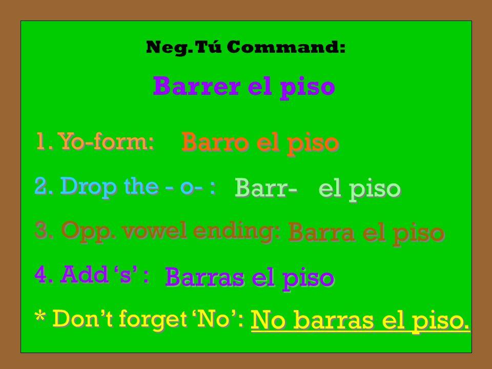 Neg. Tú Command: 1. Yo-form: 2. Drop the - o- : 3. Opp. vowel ending: 4. Add s : * Dont forget No: 1. Yo-form: 2. Drop the - o- : 3. Opp. vowel ending