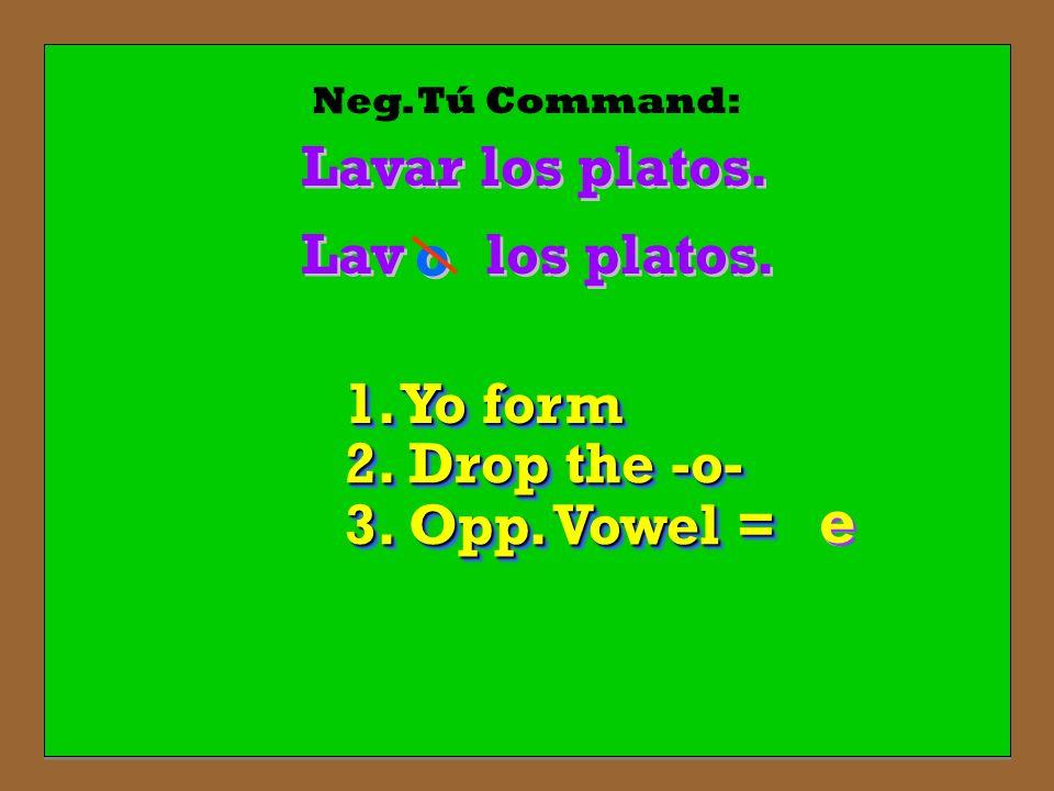 Neg. Tú Command: Lavar los platos. los platos. Lav o o 1. Yo form 2. Drop the -o- 3. Opp. Vowel = e e e e